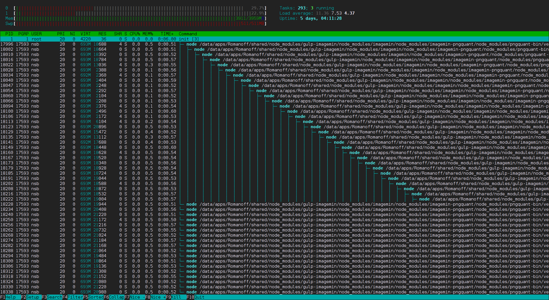 crazy npm htop screenshot